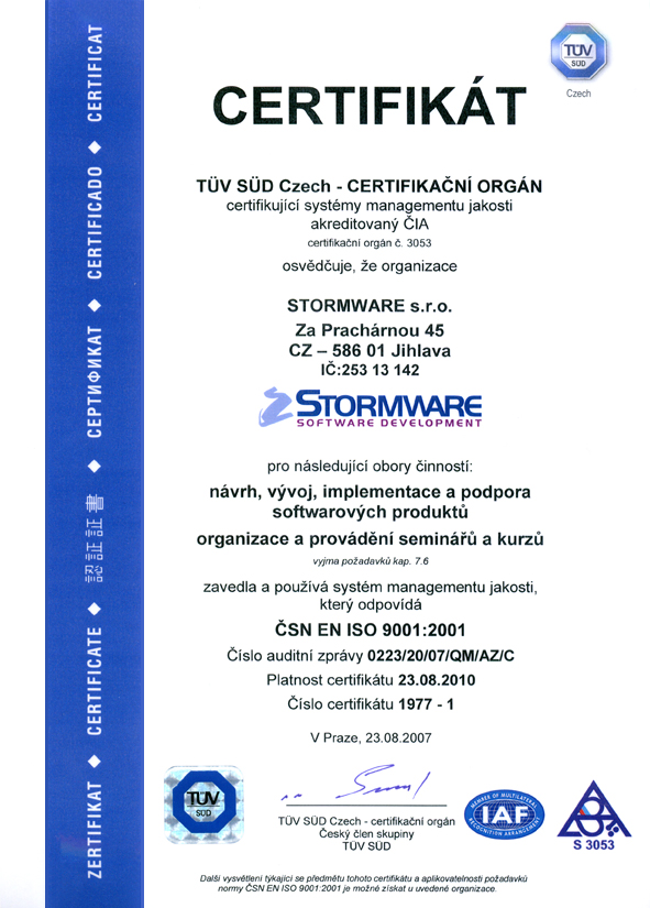 Certifikace ČSN EN ISO 9001