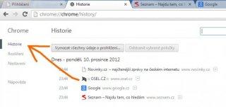 Vymazání cache prohlížeče - Google Chrome